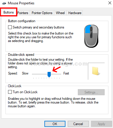 Mouse Properties Buttons Double Click Speed Move Slider