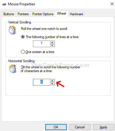 Mouse Properties Wheel Horizontal Scrolling Adjust Numbers