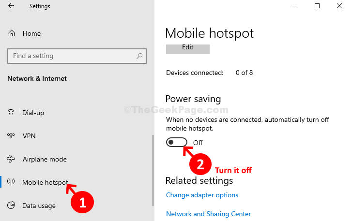 Network & Internet Mobile Hotspot Power Saving Turn Off