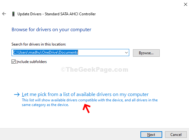 Next Let Me Pick From A List Of Available Drivers On My Computer