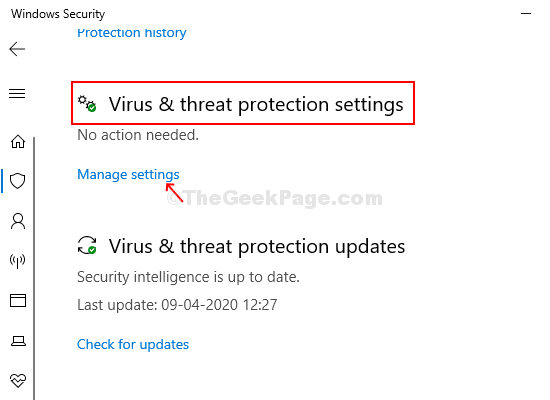 Next Window Virus & Threat Protection Settings Manage Settings