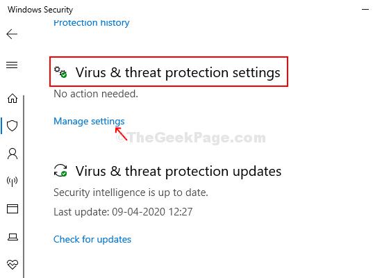 Next Window Virus & Threat Protection Settings Manage Settings