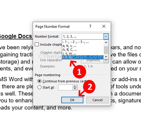 Page Number Foramt Dialog Select Roman Ok