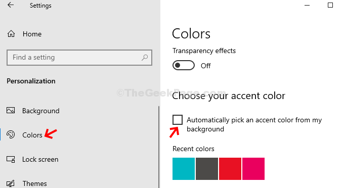 Personalization Colors Uncheck Automatically Pick An Accent Color From My Background