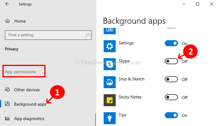 Privacy App Permissions Background Apps Skype Toggle Off