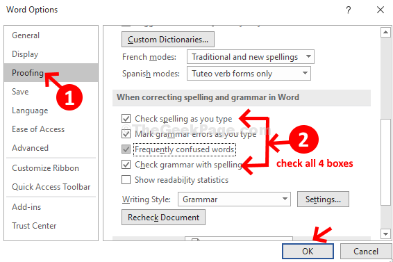 Proofing Check When Corecting Spelling And Grammar In Word Ok