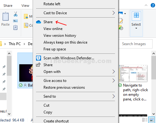 Right Click On The File, Click On Share Option With Blue Cloud Icon