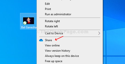 Right Click On The File Or Folder On Desktop, Click On Share Option With Blue Cloud Icon