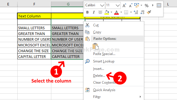 Select New Column Right Click Select Delete