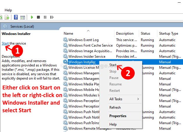 Services Left Side Start Windows Installer Right Click Start