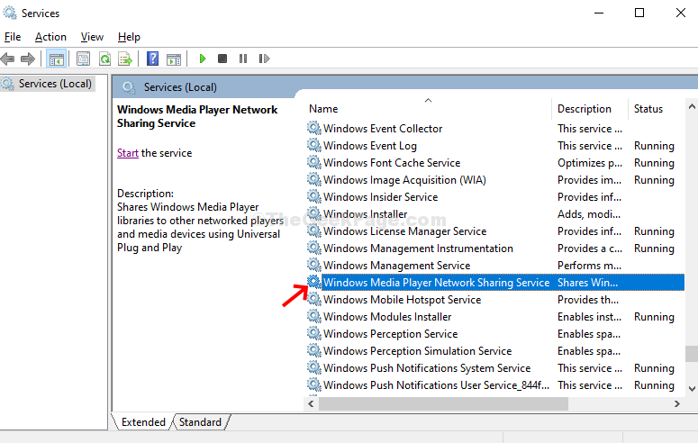 Services Windows Media Player Network Sharing Services