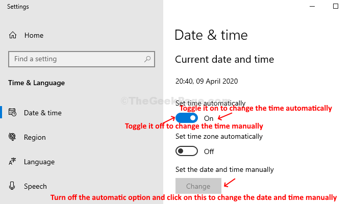 Settings Date & Time Set Time Automatically On Set Time Automatically Off Saet Date And Time Manually Change