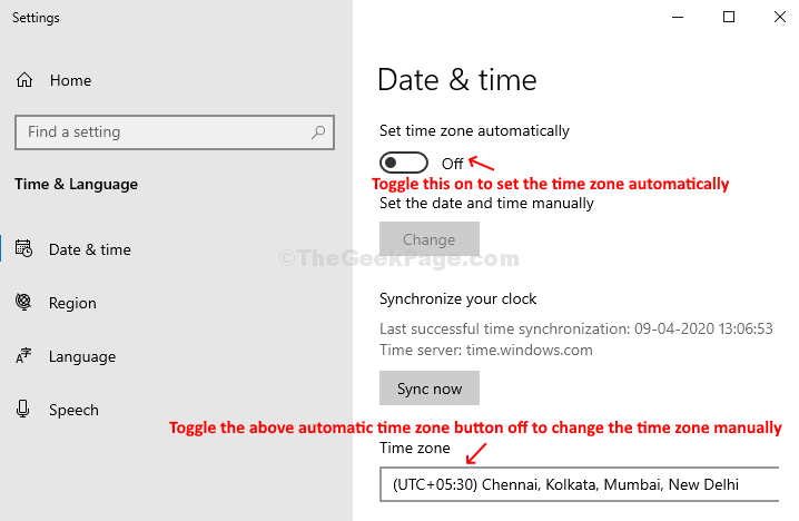 Settings Date & Time Set The Time Zone Automatically On Set The Time Zone Automatically Off Change Manually
