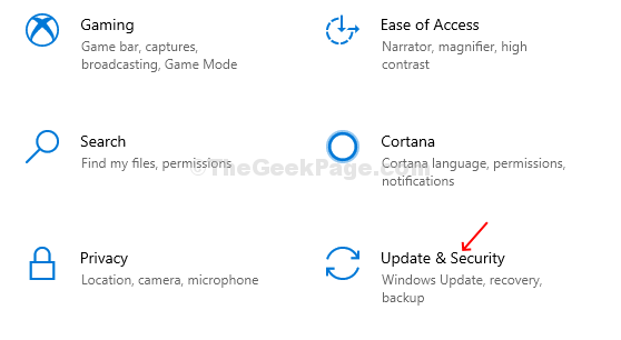 Settings - Update & Security