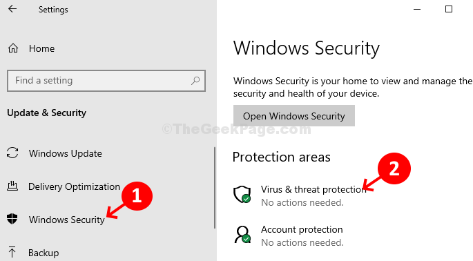 Settings Windows Security Virus & Threat Protection