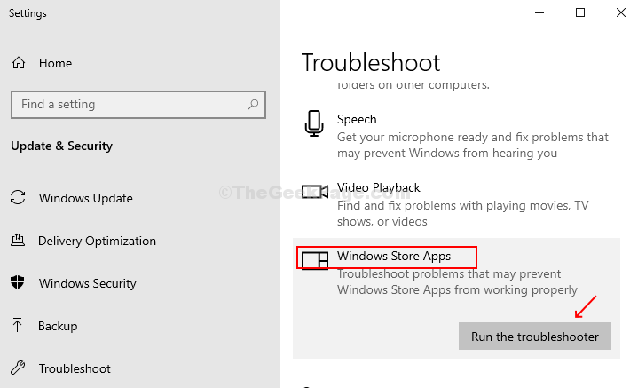 Settings App Troubleshoot Windows Store Apps Run The Troubleshooter
