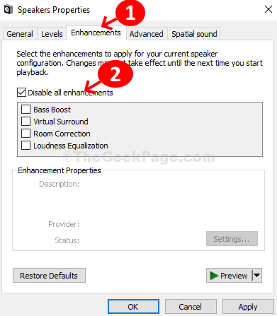 Speakers Properties Enhancements Check Disable All Enhancements