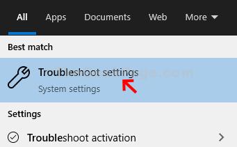 Start Troubleshooter Troubleshoot Setting