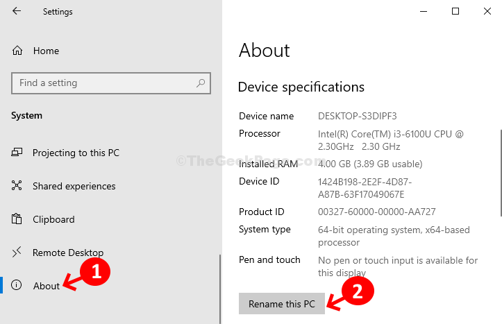 System About Device Specifications Rename This Pc