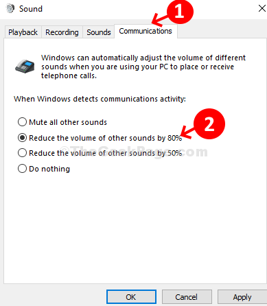 System Sound Communications Reduce The Volume Of Other Sounds By 80% Apply