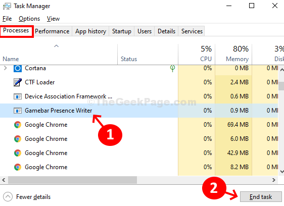 Task Manager Processes Gamebar Presence Writer End Task