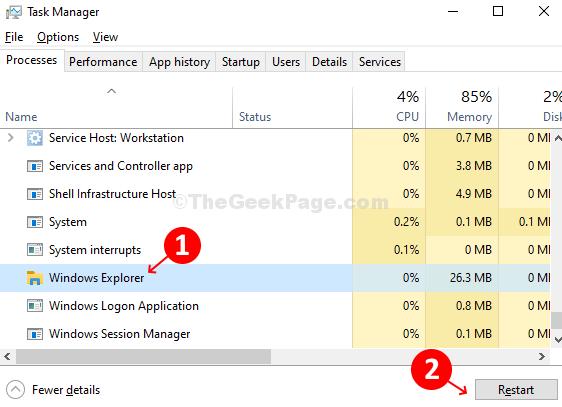 Task Manager Processes Windows Explorer Restart