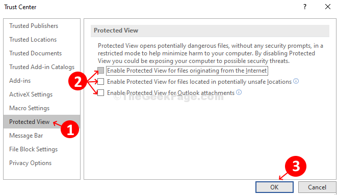 Trust Center Protected View Uncheck All Options