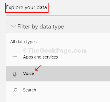 Under The Explore Your Data Section On The Left, Click On Voice