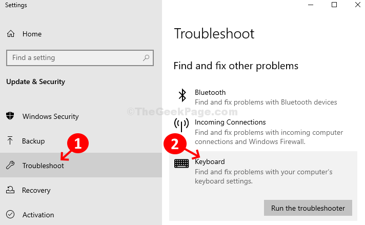 Update & Security Troubleshoot Find And Fix Other Problems Keyboard