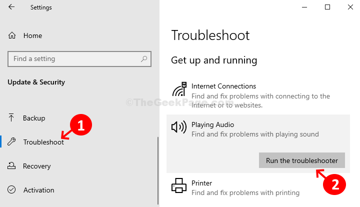 Update & Security Troubleshoot Get Up And Running Playing Audio