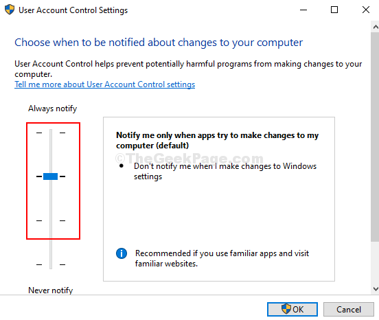 User Account Control Settings Slide Slider To Any Of The Top 3 Choices