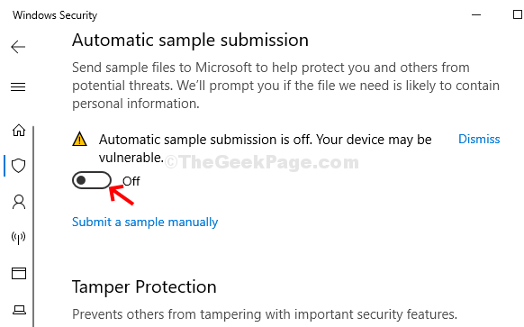 Virus & Threat Protection Settings Turn Off Automatic Sample Submission