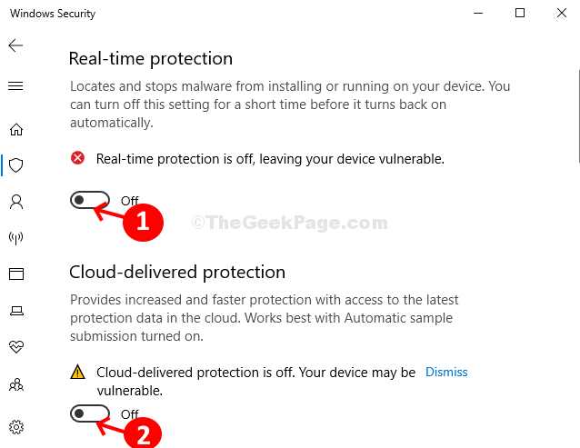 Virus & Threat Protection Settings Turn Off Real Time Protection Cloud Delivered Protection