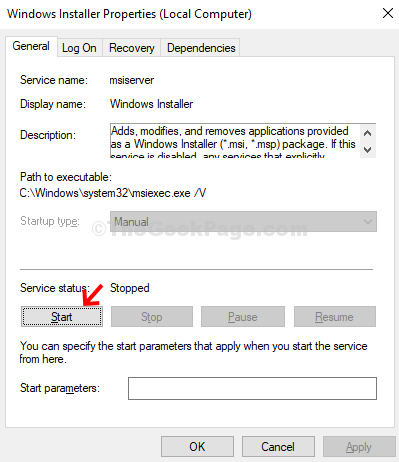Windows Installer Properties General Service Status Start