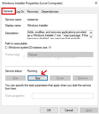 Windows Installer Properties General Service Status Stop