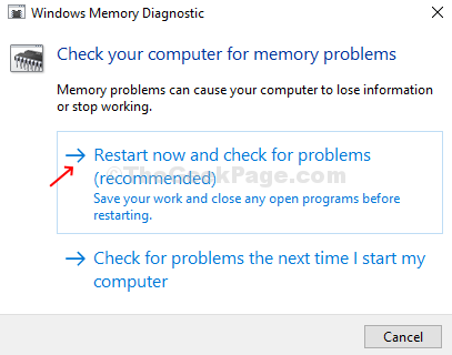 Windows Memory Diagnostic Restart Now And Check For Problems