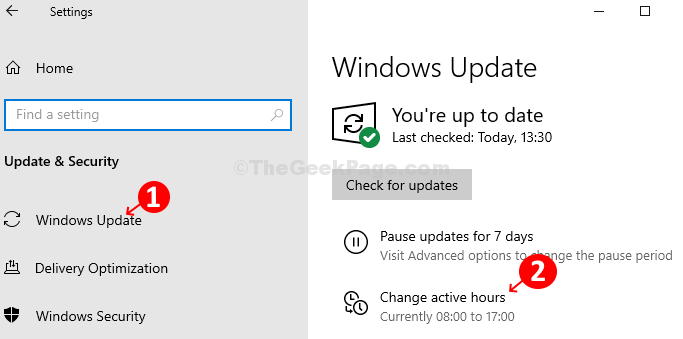 Windows Update - Change Active Hours