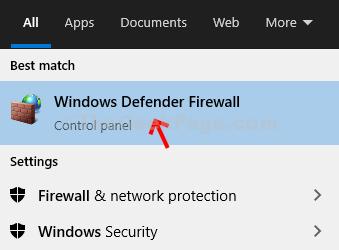 Windows Icon Search Box Windows Defender Firewall Open