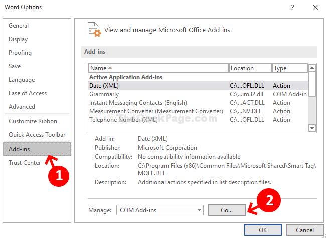 Word Options Add Ins Manage Com Add Ins Go