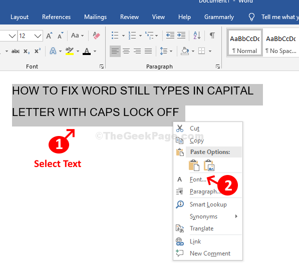 Word Select Text Right Click Font
