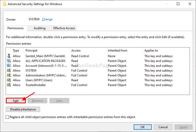 Add Advacned Security Settings Windows
