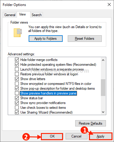 Apply Ok Folder Options