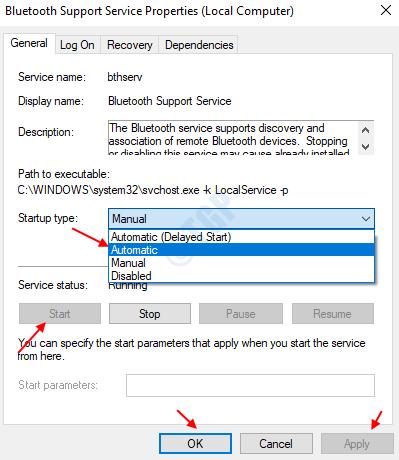 Bluetooth Support Service Start