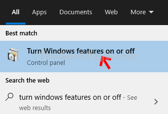 Desktop Start Turn Windows Features On Or Off Click On Result
