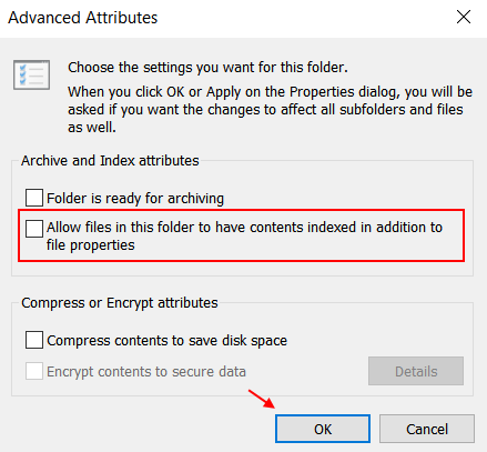 Dis Allow Files To Have Contents Indexed