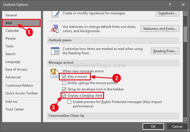 Mail Display Alert Ms Outlook