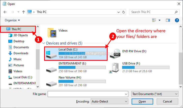 Open Directoy Where The Folders Are