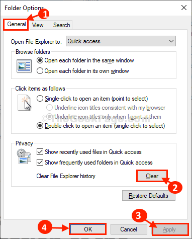 Quick Access Clear Folder Options