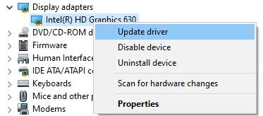 Update Display Adapter