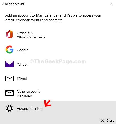Add An Account Advanced Setup